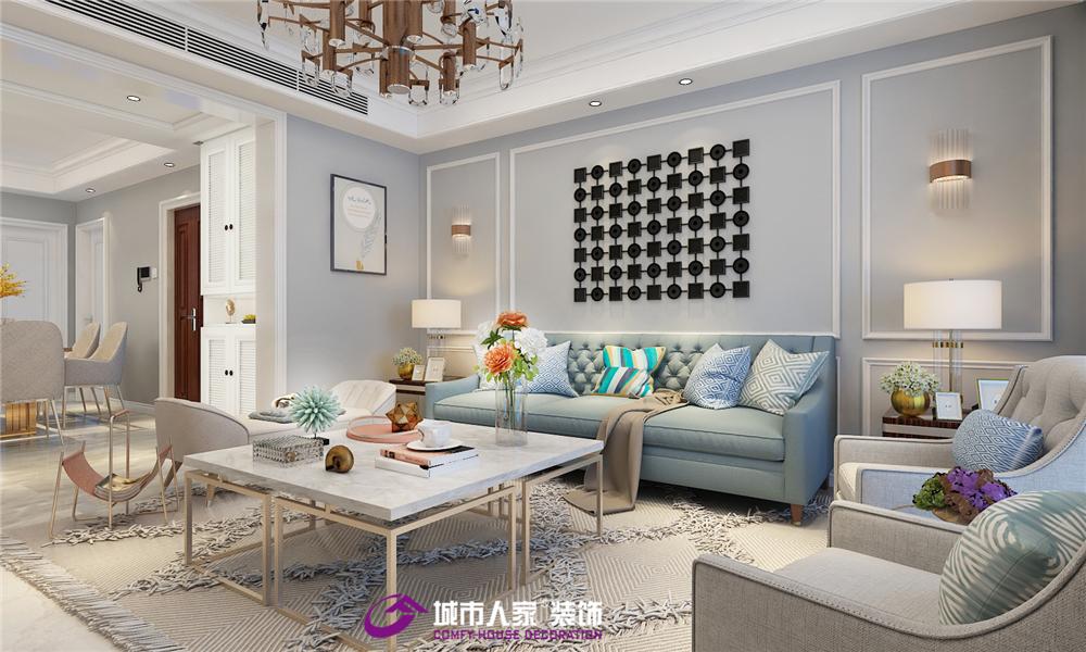 简约 客厅图片来自济南城市人家装修公司-在宏瑞国际新城装修效果图美式风格的分享