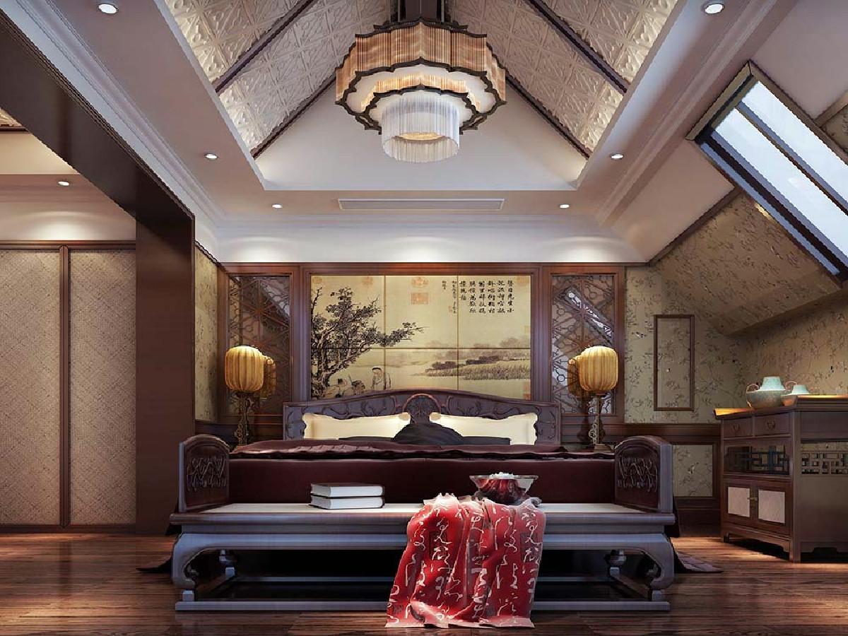 棕榈泉花园别墅项目装修新中式风格设计,上海腾龙别墅设计作品,