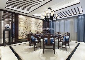 别墅 格林玫瑰湾 中式 餐厅图片来自百家装饰LL在格林玫瑰湾273平中式风格的分享