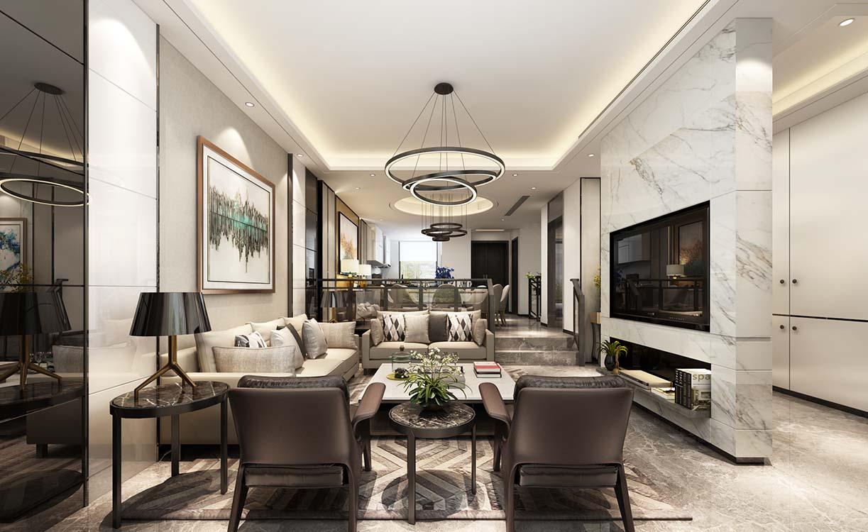 陆家嘴红醍 别墅装修 现代风格 腾龙设计 客厅图片来自腾龙设计在陆家嘴红醍半岛360平别墅装修的分享