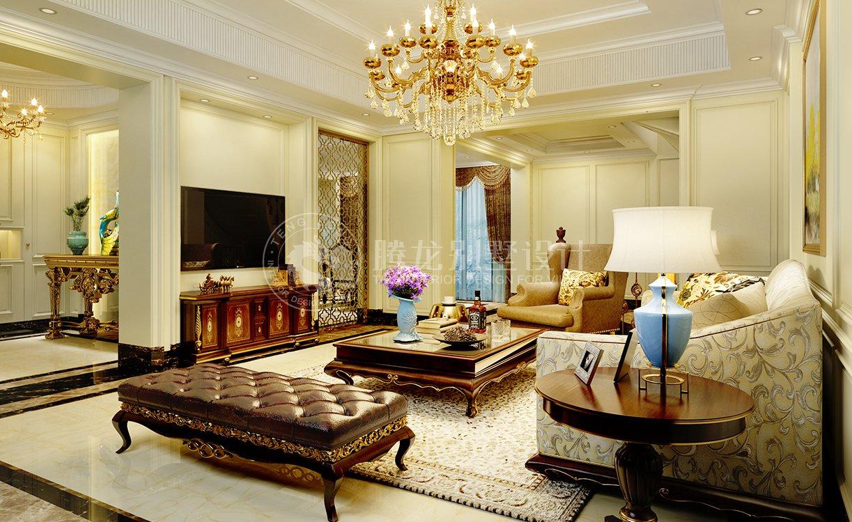 康桥半岛 别墅装修 欧美风格 腾龙设计 客厅图片来自腾龙设计在康桥半岛350平别墅装修简美风格的分享