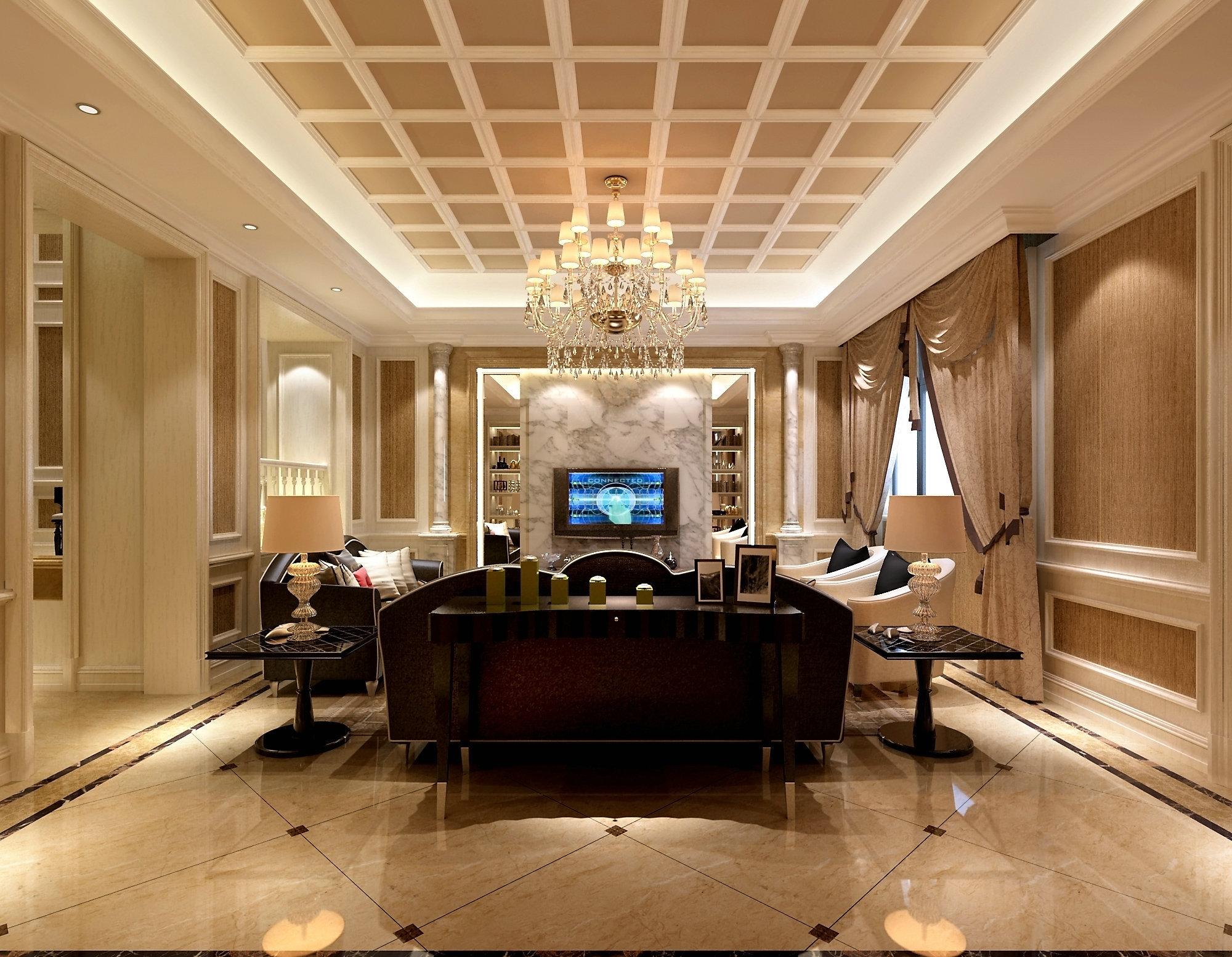 东方豪园 别墅装修 欧美风格 腾龙设计 客厅图片来自孔继民在东方豪园独栋别墅项目装修欧美风的分享