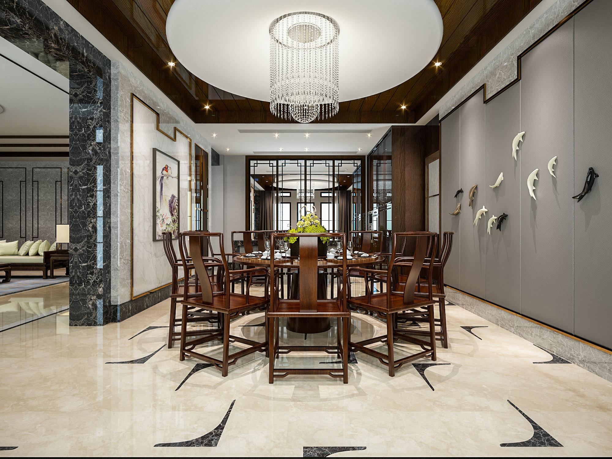 虹桥高尔夫 别墅装修 新中式风格 腾龙设计 餐厅图片来自孔继民在虹桥高尔夫别墅新中式风格设计的分享