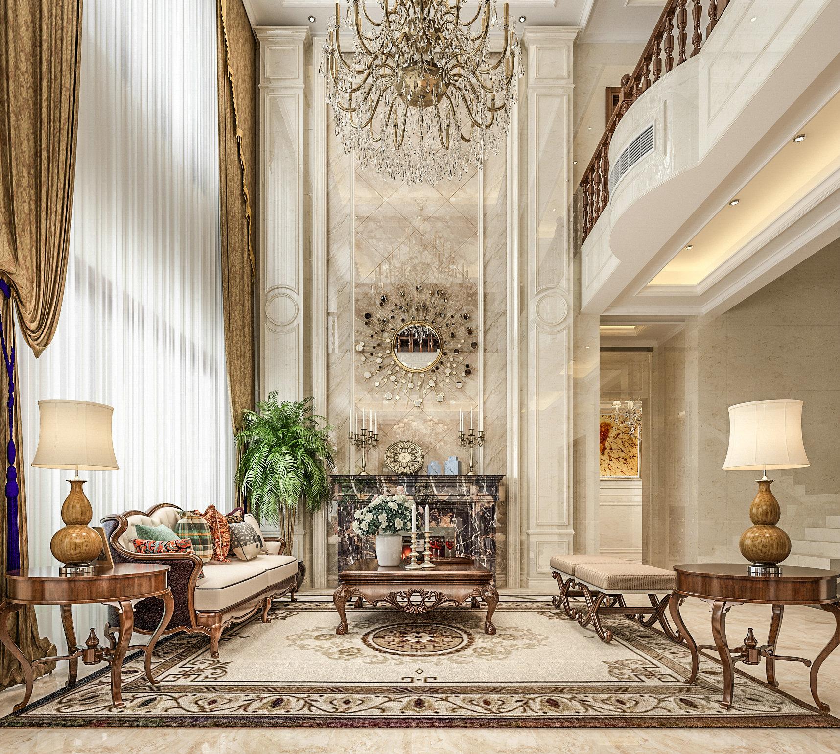万科提香 别墅装修 欧式古典 腾龙设计 客厅图片来自孔继民在万科提香别墅项目装修欧式古典的分享