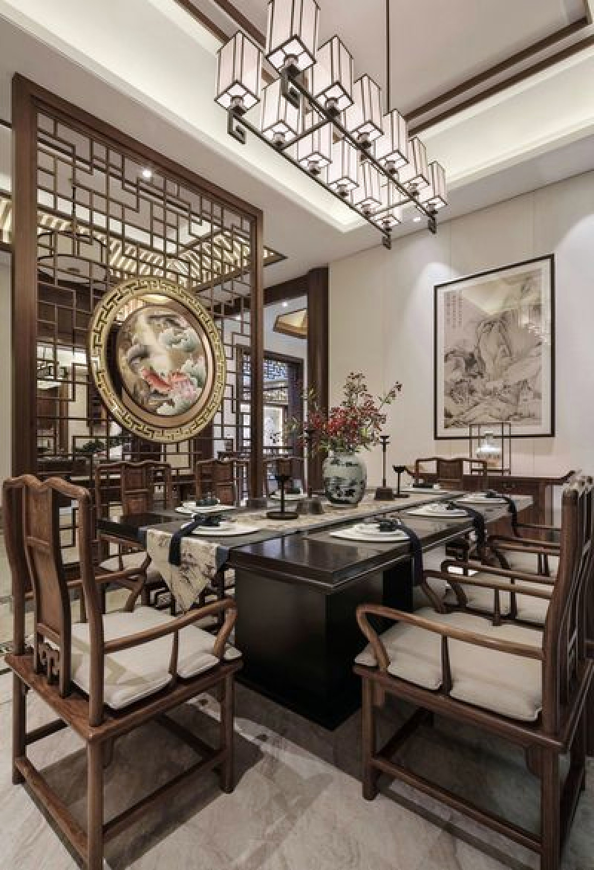 汤臣湖庭花园别墅项目装修新中式风格设计,上海腾龙别墅设计作品,欢迎品鉴