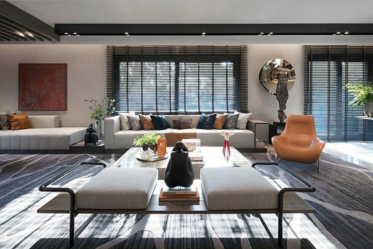 仁恒滨江三房户型装修现代风格设计,上海腾龙别墅设计作品,欢迎品鉴