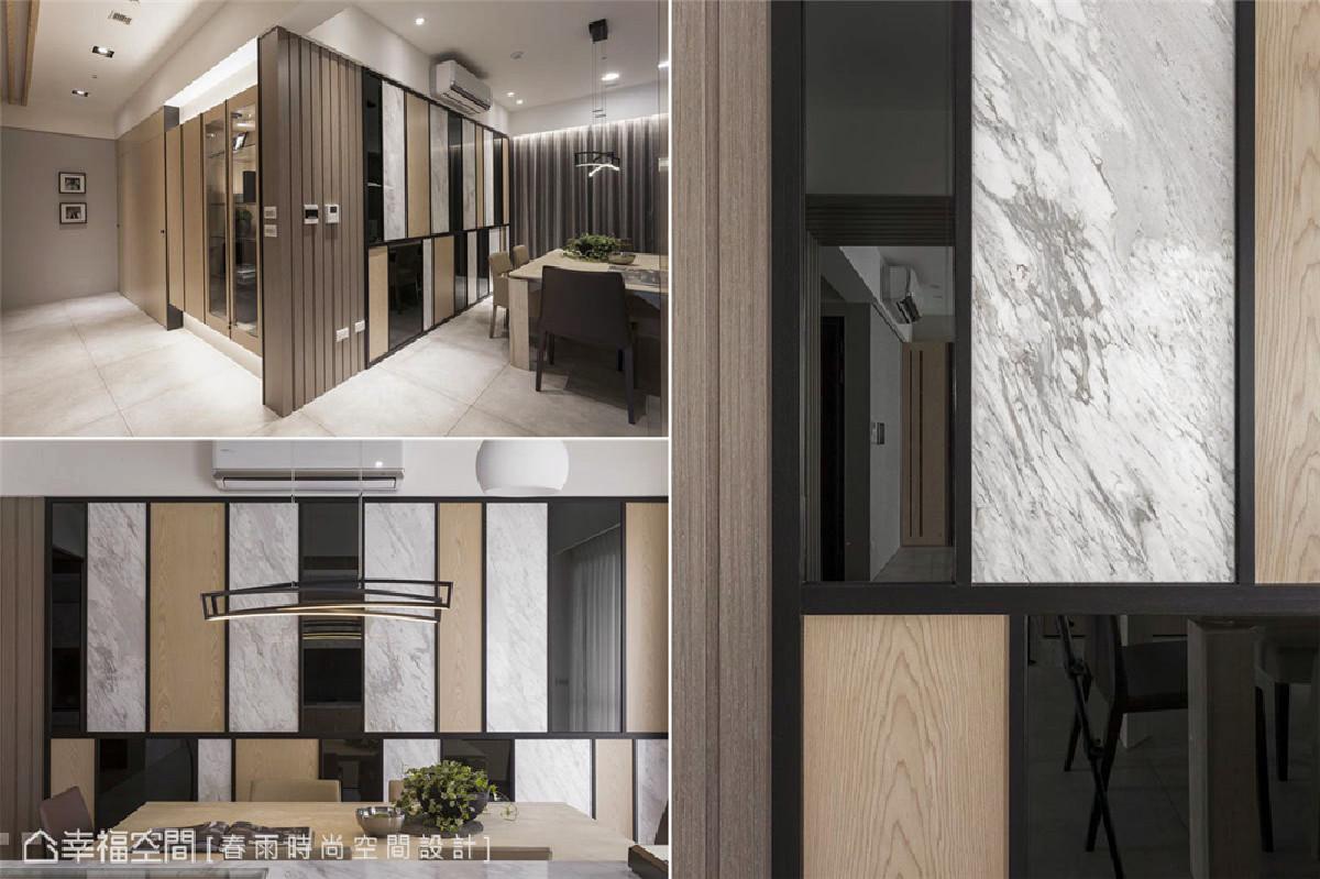 餐厅 餐厅主墙使用木纹、石纹、镜面三主材质进行混搭,结合黑色框边形成几何切割造型,结合格栅设计做收边揭示场域机能转换,创造出跳跃视觉和堆叠纹理。