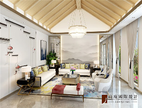 现代 中式 公寓 大户型 复式 跃层 别墅 80后 小资 客厅图片来自高度国际姚吉智在四合院200平米现代中式天生优雅的分享