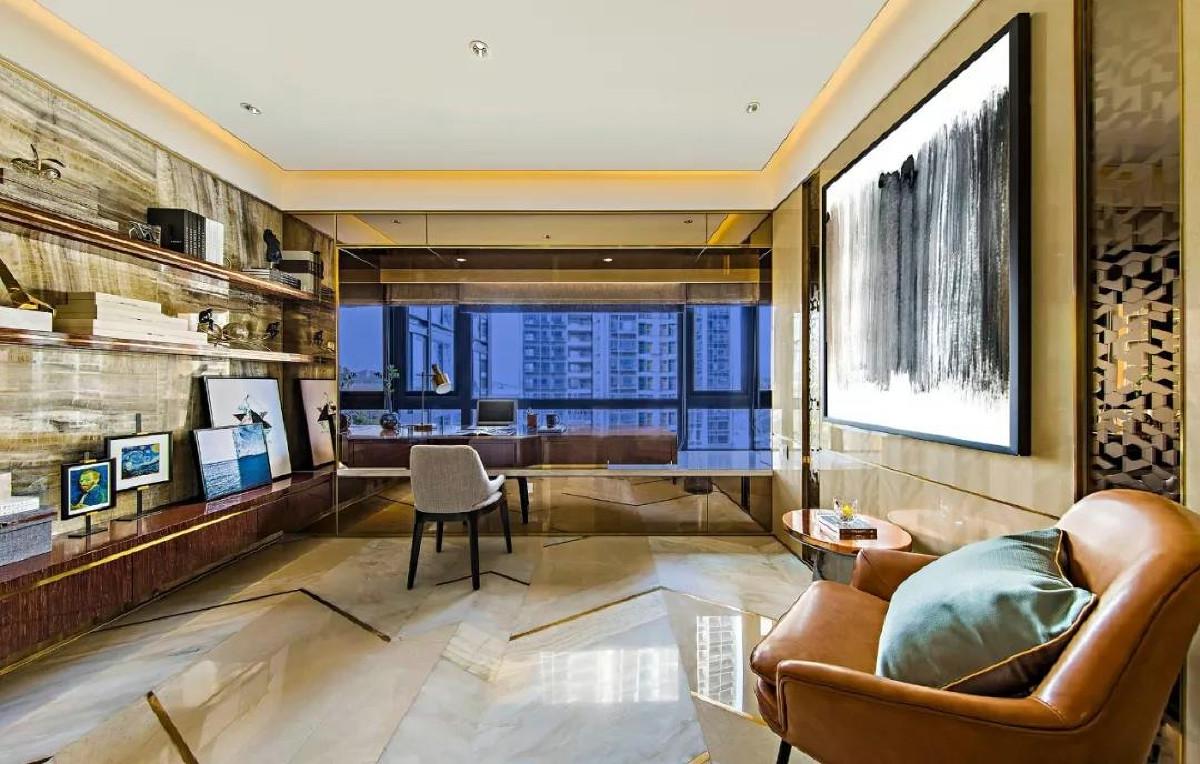 天山九峰290㎡现代奢华风格客厅效果图