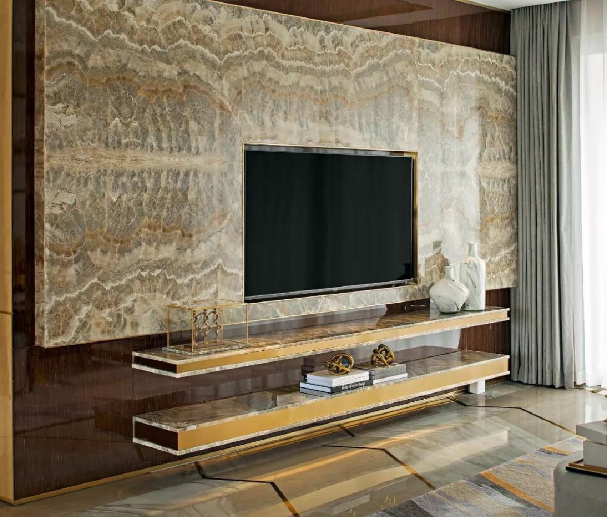 天山九峰290㎡现代奢华风格客厅电视背景墙效果图