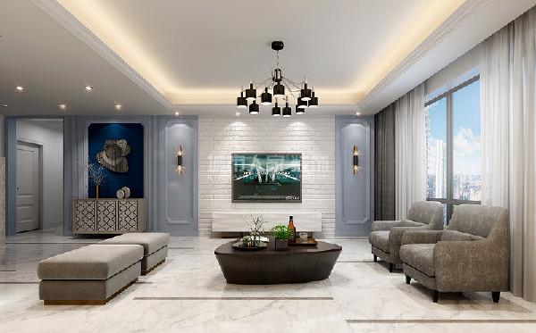 地面采用900*1800的规格的条形地砖内嵌灰色边线,增加客厅拉伸感,将端景墙和电视墙及整体又分划的设计使客厅电视墙再次被拉伸。