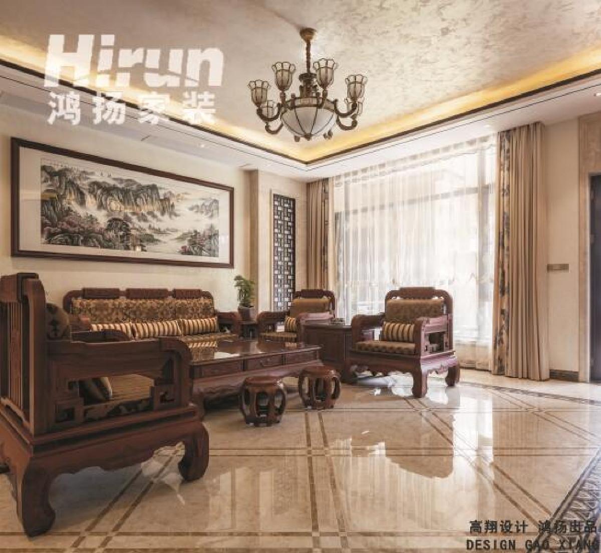 文士雅风的原木沙发材料-天然紫檀,素雅色调的麻质布艺窗帘。