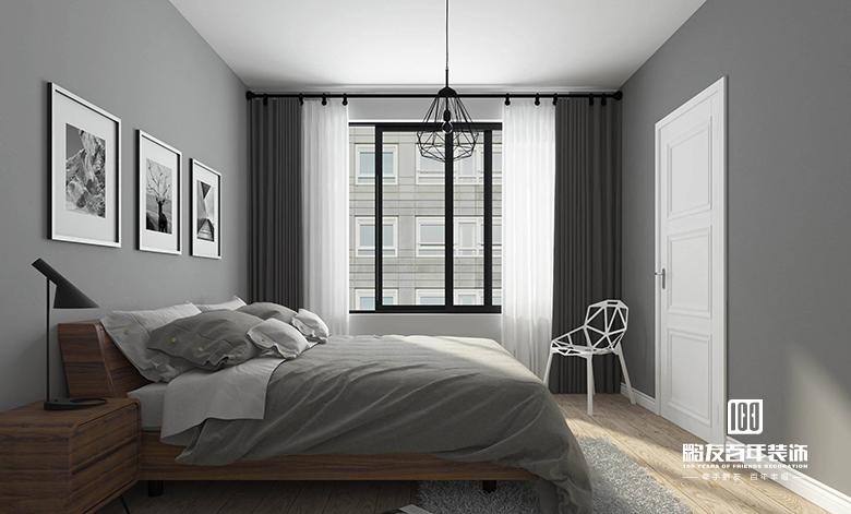 卧房一如既往延续极简的现代风格彰显时代气息的高级灰墙面与镂空富有