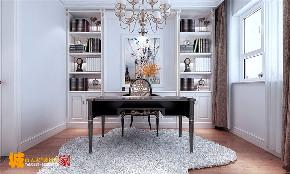 简约 欧式 书房图片来自济南城市人家装修公司-在济南财富壹号装修简欧风格案例的分享