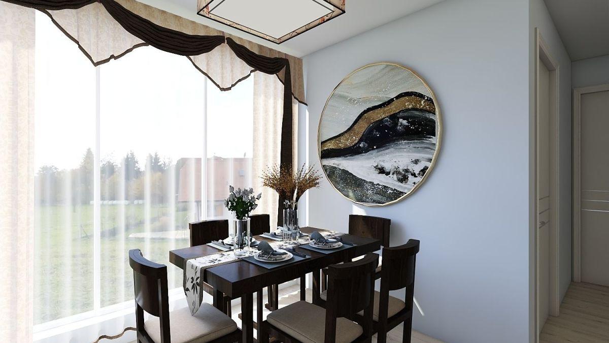 整体的中式风格,古朴典雅。红木色家具沉稳大气。适合年长人群居住。