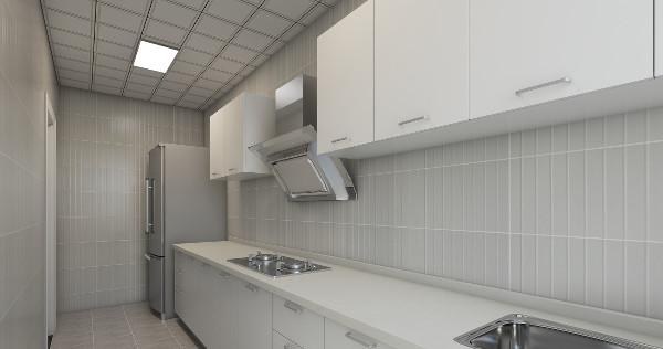厨房选用的是白的的柜子,干净,明亮,双饰面的材质好打理卫生