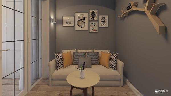 墙面用灰蓝色墙漆,配上白色沙发,是整个空间活跃有透气