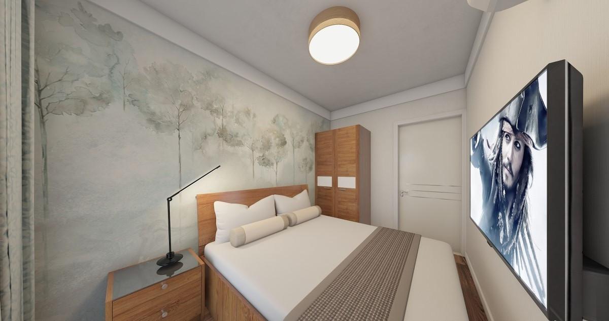 线条简洁的家具、到位的软装,上面的卧室是现代简约风格的经典作之一。床背后简单时尚的挂画是现代简约派的代表产品。空间简约,但色彩的搭配弥补了视觉上的单调。