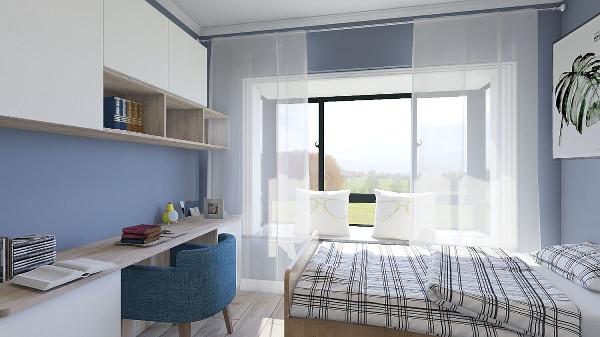 卧室也沿用了客厅的灰蓝色,小清新范儿十足,配上木质的床足以让上班的主人,回来感受轻松愉悦