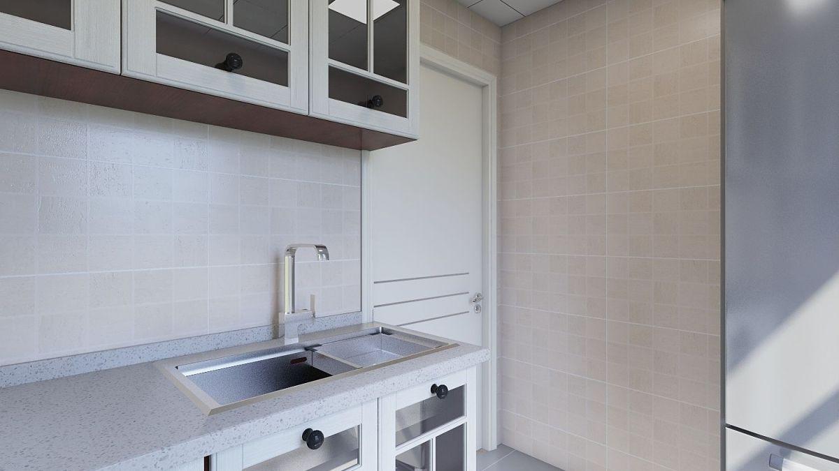 白色的台面与柜门给深色的柜体增添亮色,是沉闷的厨房给人干净整洁明亮的感觉。