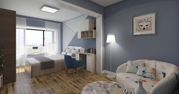 卧室的家具和墙面体现了简约,时尚,小清新完美结合