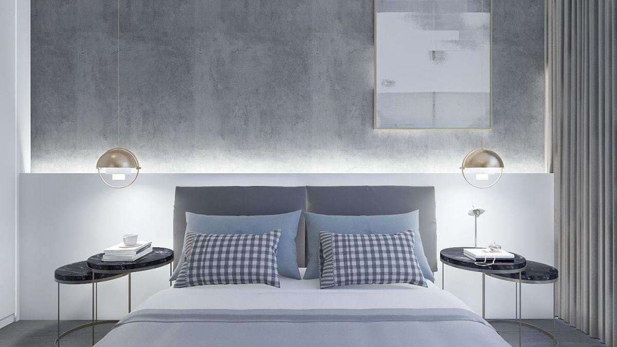 空间并没有划分出单独的卧室,考虑到隐私性,利用电视背景墙和隐形推拉门进行分隔,透明玻璃保证光线的穿透,夜晚将玻璃拉上,便是安静又私密的独处空间。