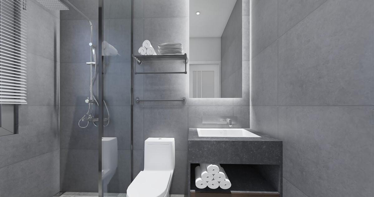 深灰色水泥砖的洗浴室,清爽且优雅