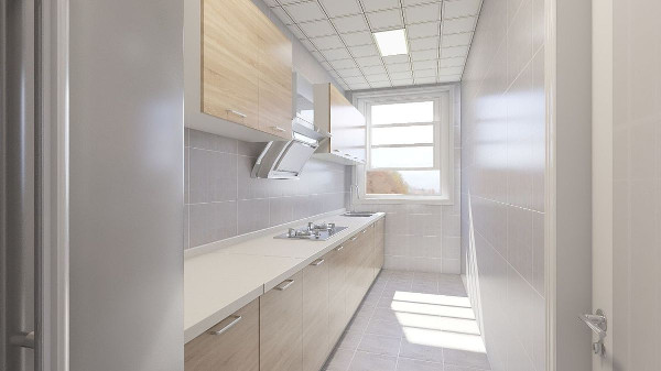 木纹色橱柜配上浅色墙砖是整个空间干净,明亮
