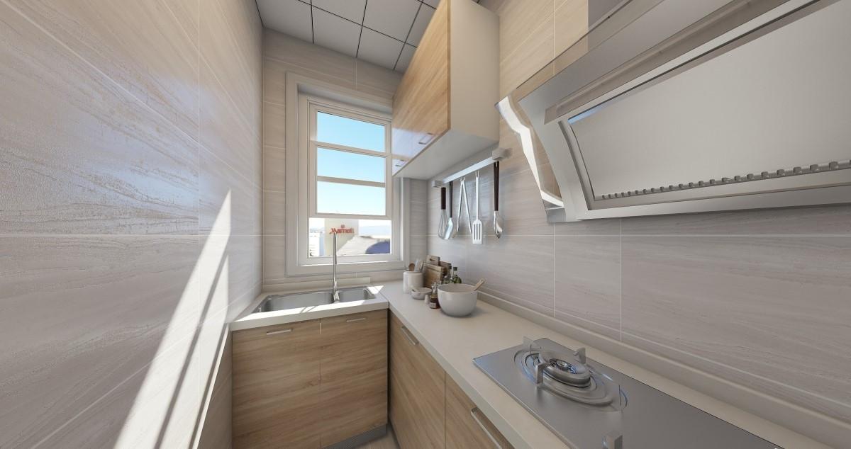 原木色的橱柜搭配浅米色的墙地砖,给人一种舒适温馨的感觉。