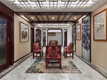 500平独栋别墅中式风格设计