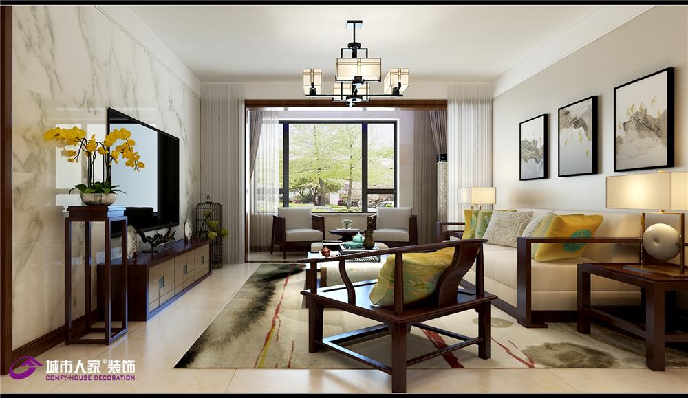 新中式 济南装修 客厅图片来自济南城市人家装修公司-在财富壹号装修新中式风格的分享