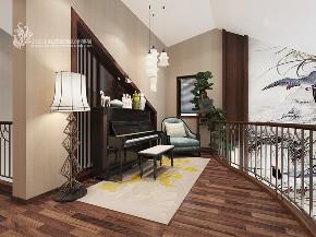 楼梯图片来自王凤波设计机构在新中式别墅设计提香草堂的分享