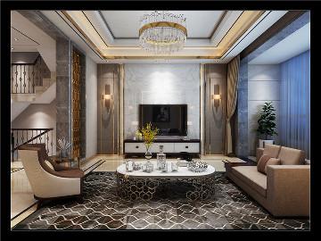 西安逸翠园350平别墅轻奢风格