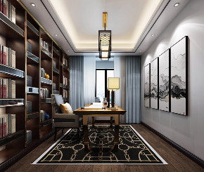 书房图片来自云南俊雅装饰工程有限公司在长城小区 美式风格的分享