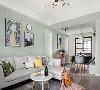 在造型上,他们都不喜欢多余的墙面装饰,客厅沙发背景延伸至餐厅的墙面做了豆沙绿灰进行跳跃,十分清爽。
