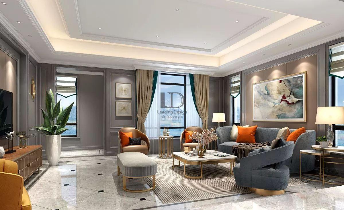 同时现代轻奢主义以高品质、设计感、舒适、简约为风格特征,本案的配色以白、灰、金为主调。