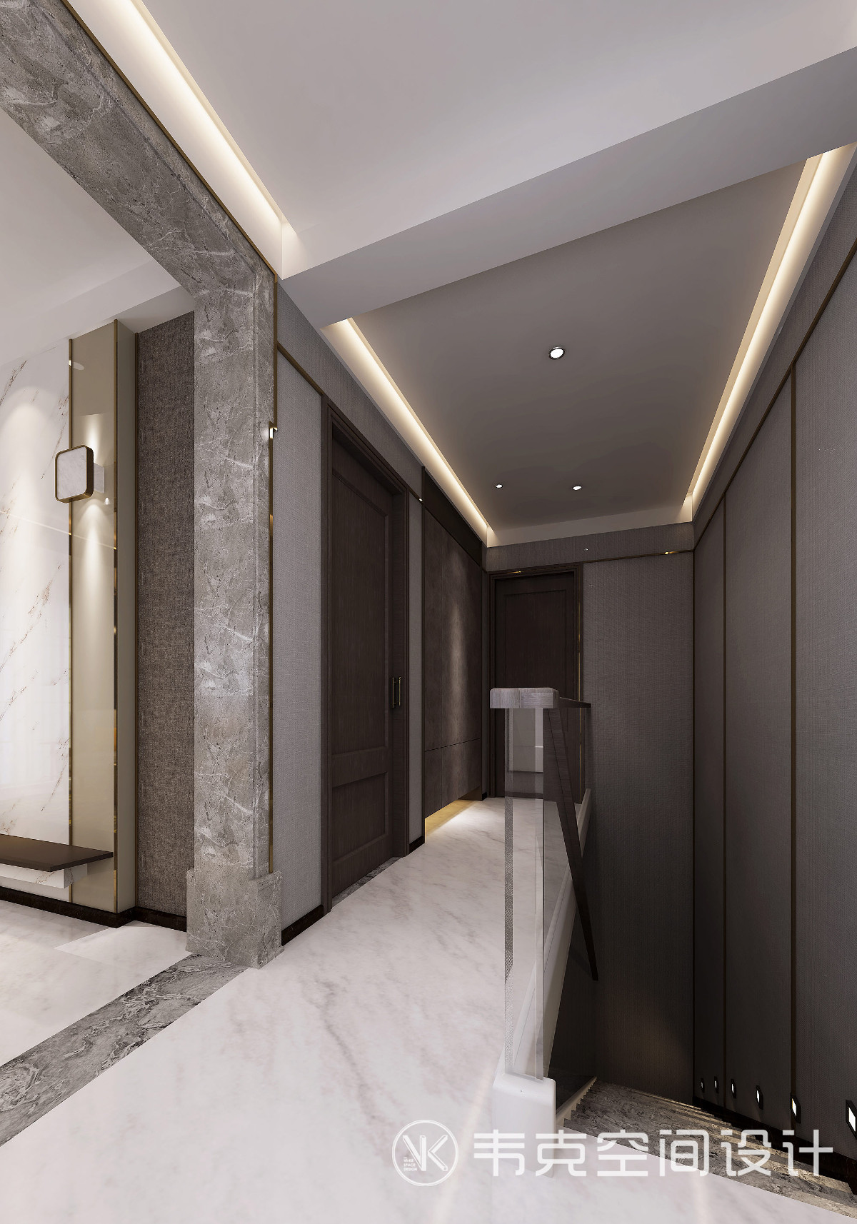 L型过道几乎连通了家里的全部主要功能区,给人一种曲径通幽的感觉,充满东方意境和气质,一种静谧的空间在尘嚣中觅一方净土。