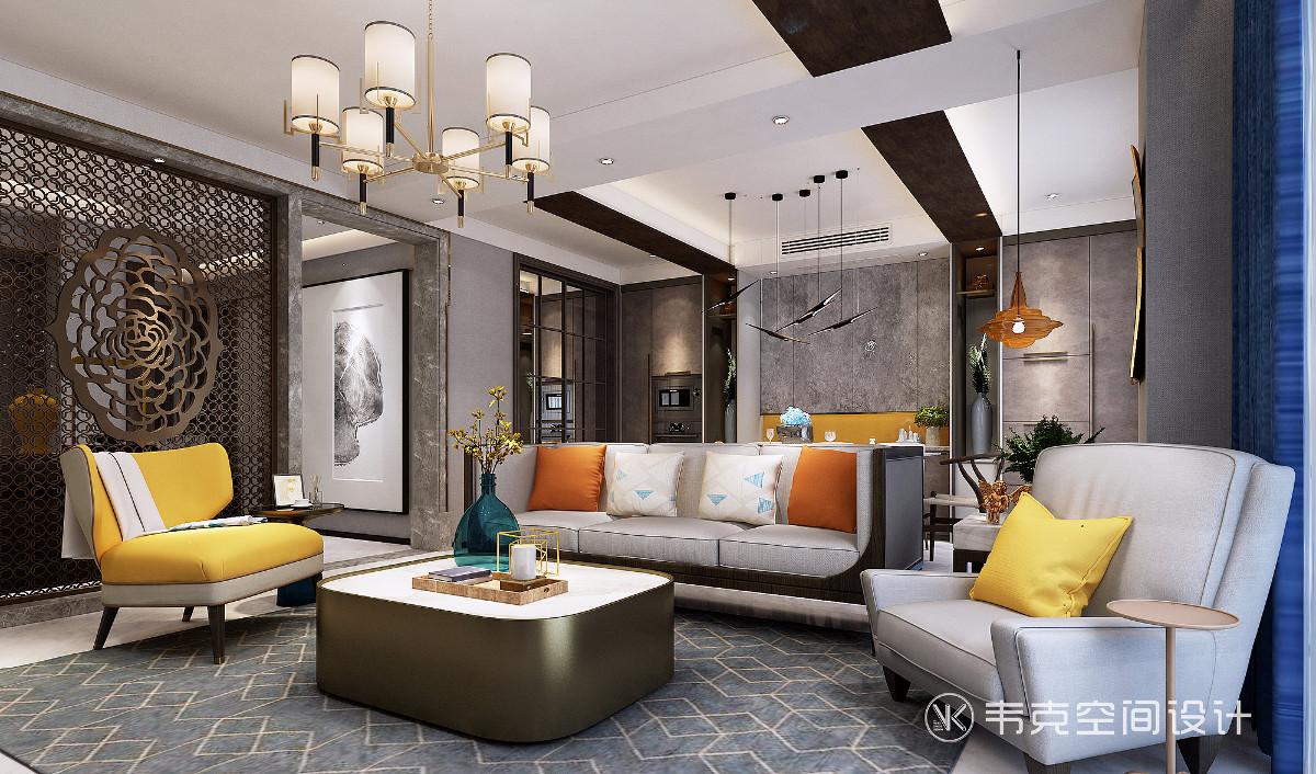 沙发区域将古时皇家住宅中常见的红、黄、蓝、绿等亮色做局部点缀色。将传统文化的精髓,最大化表达的同时,也为空间注入一份明快与活跃,令空间更加典雅、唯美。