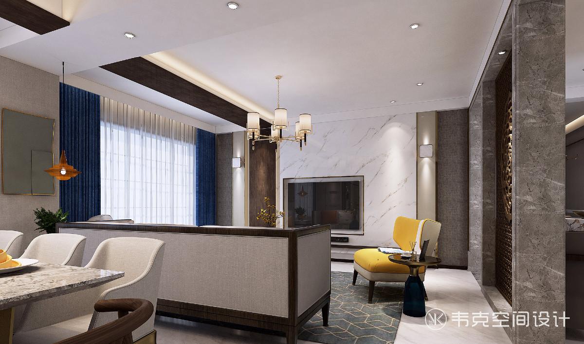 客厅格调典雅质朴,色彩稳重成熟,充分体现了中国传统美学的精神,散发出亦古亦今的层次之美。