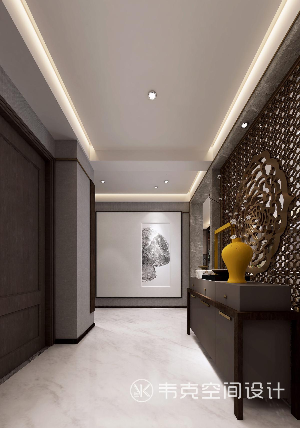 古人多喜爱在博古架上放置一些瓷器装饰,瓷器肌理的天然质感与自然属性和以灰色调、简约造型的方式呈现,可以更为巧妙地突出玄关主题。