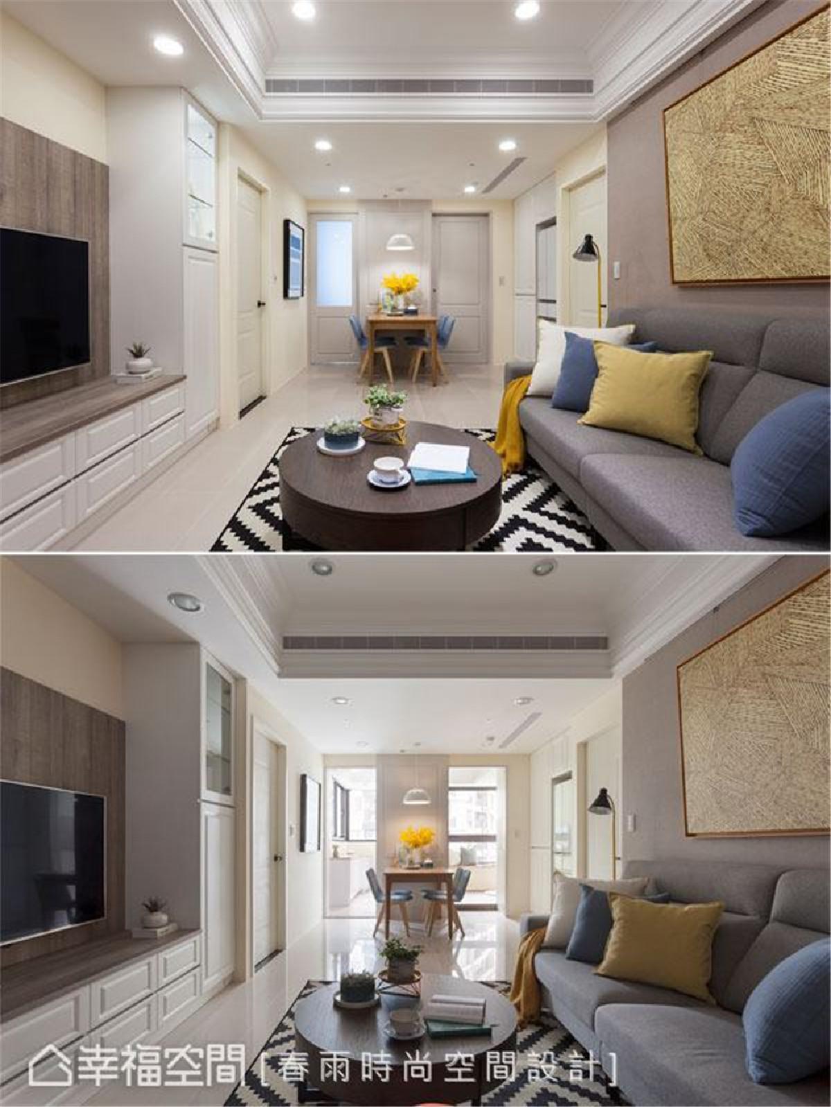光源配置 客厅底端的厨房与多功能室是采光面,特别在厨房门片做了半透明玻璃设计,即便阖上房门也能感受到自然光晕。