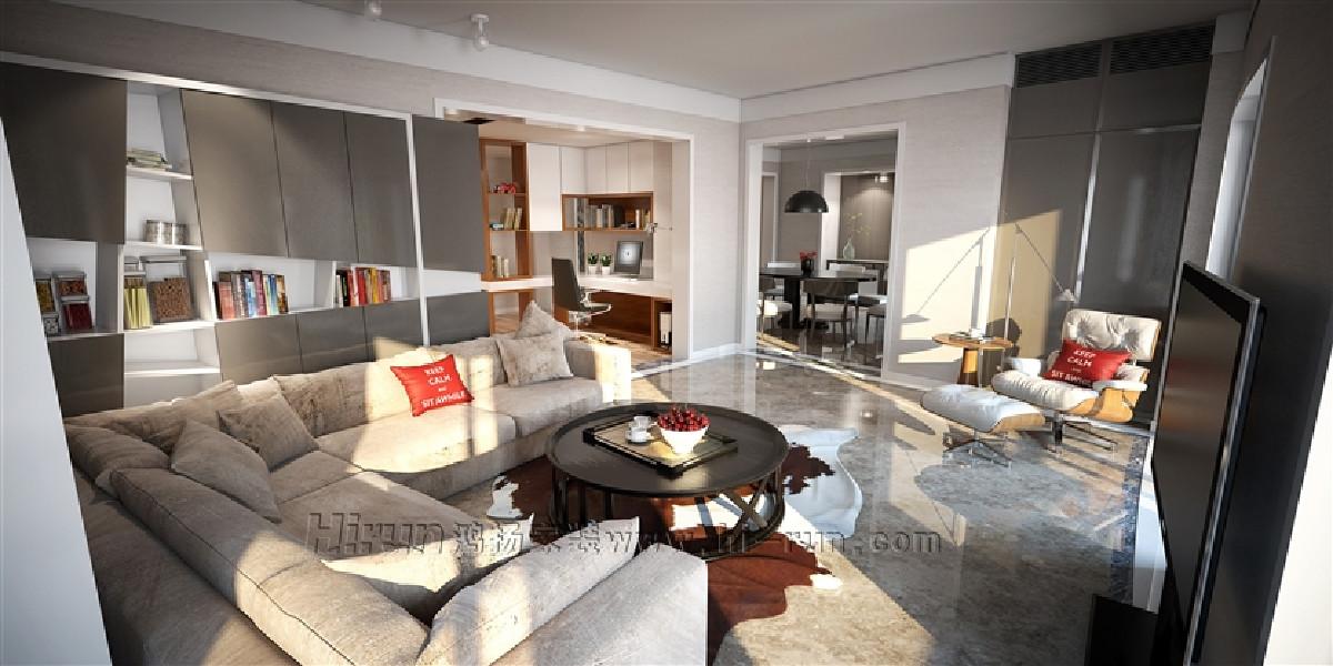 深色木质的现代家具,搭配柔软舒适的格子或条纹布艺沙发。