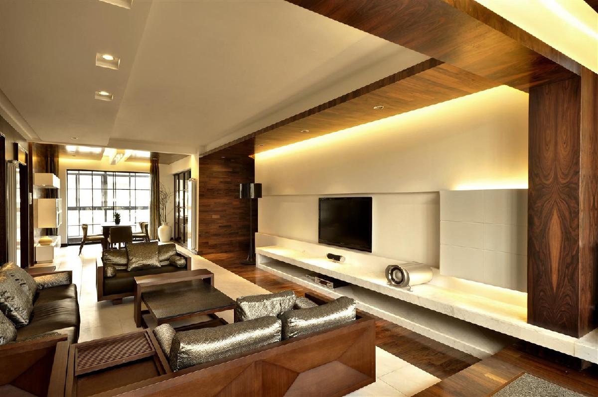 有简化的中式线条造型的墙面装饰板,顶面装饰板,鸿扬家具。