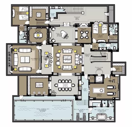户型图图片来自品川室内设计在品川设计丨奢宅、气度的分享