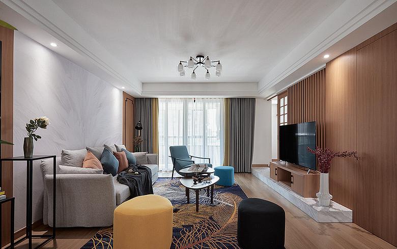 客厅图片来自家装大管家在钟爱木质 120平日式混搭时尚3居的分享