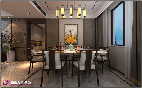 简约 三居 餐厅图片来自济南城市人家装修公司-在万达文旅城装修四居室新中式风格的分享