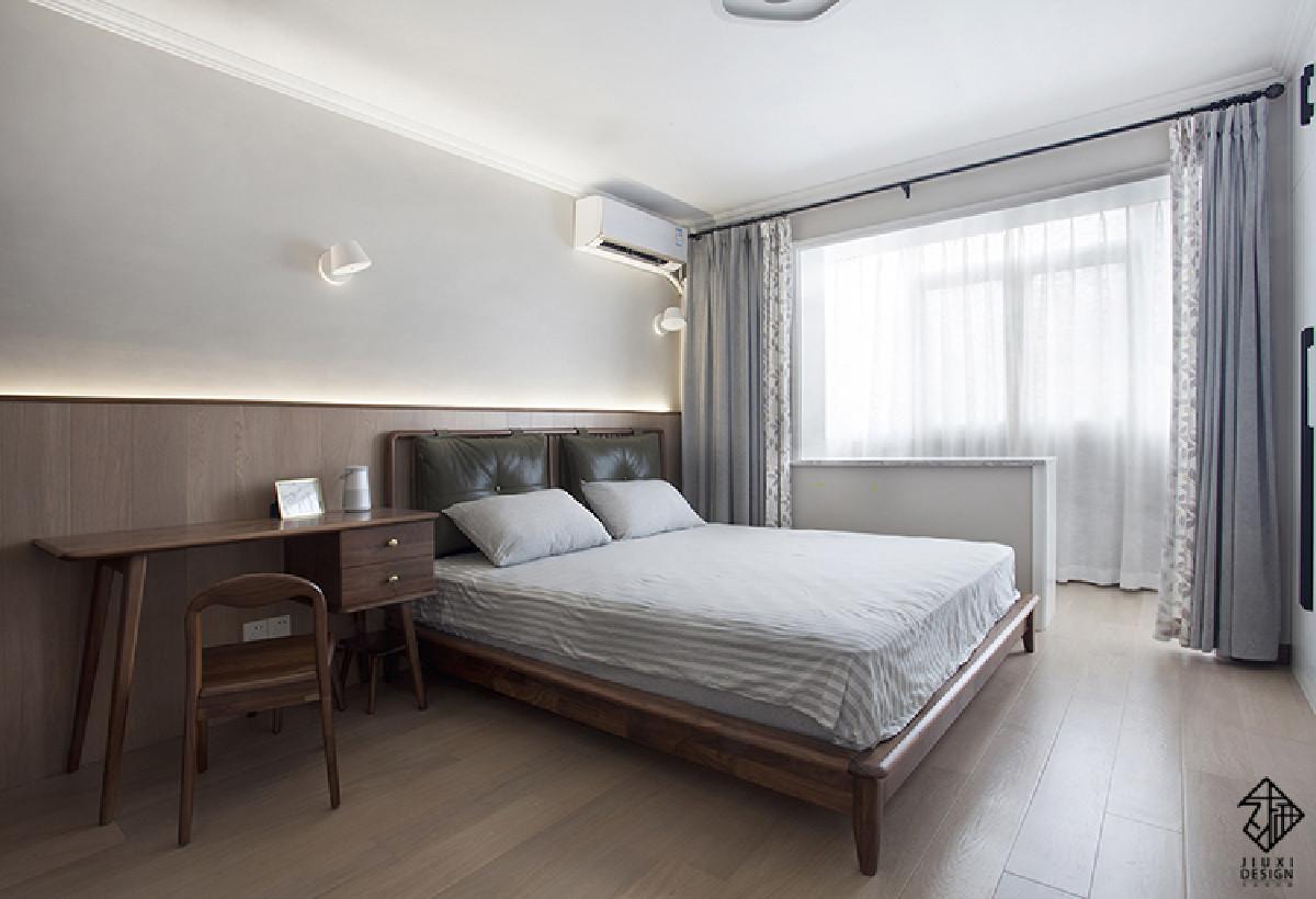 在考虑卧室的设计上,不希望有过多的鸡肋装饰打扰这个宁静的休息空间。