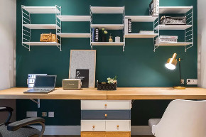 北欧 半包 全包 私人订制 全案设计 书房图片来自鹏友百年装饰在低调灰+白色+木色,好漂亮!的分享