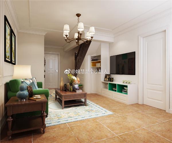 客厅沙发背景墙装饰简单线条与顶面线条相互呼应,简约又不失大方。楼梯下方的定制柜体,兼具储物与换鞋凳功能。