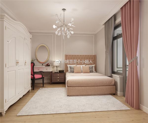 主卧采用低饱和度的灰粉色系,优雅与理性并存。